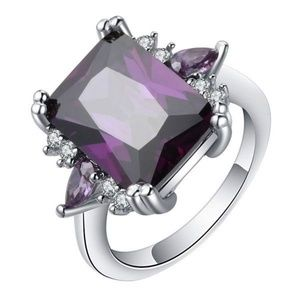 Jewelry - NEW 8+ C AMETHYST ~ SILVER PLATED RING ~ SIZE 6